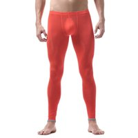 Wholesale stretch silk pants online - Mens Slim Tight Long Johns Ice Silk Warm Stretch Legging Trousers Autumn Ultra Thin Underwear Breathable Mid waist Long Pants
