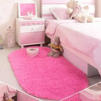 40*60cm Solid Color Ellipse Carpet Mat Long Hair Shaggy Soft Area Rug  Bedroom Living Room Anti Slip Kids Mat (1pc) 7 Colors