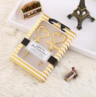 Wholesale Heart Shaped Plugs - Gold Corkscrew Wine Openers Red Wine Plug Set Wedding Favor Heart Shape Wine Bottle Opener Set OOA5091