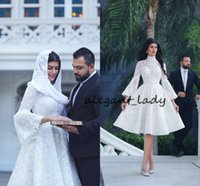 Wholesale crystal bell wedding for sale - Short Lace Garden Wedding Dresses with Bell Long Sleeve Modest High Neck Saudi Arabic A line Knee length Beach Brdial Wedding Gown