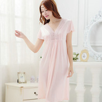 6c8f4df4ce sexy girl sleepwear Canada - women Champagne lace sexy Short sleeve  nightdress girls Sleepwear nightgown A897