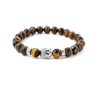 Wholesale Male Female Beaded Bracelets - Wholesale 10 Color 8mm Natural Stone Beads Buddha heads Bracelets for men&women Yoga Energy Buddhist jewelry Male&Female