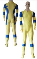 traje azul deadpool venda por atacado-Amarelo Azul No Hood Spandex Deadpool Costume traje de Halloween