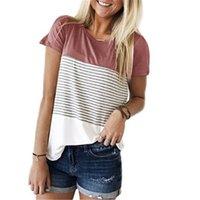 новые стили tshirt оптовых-Летний новый стиль моды для женщин с коротким рукавом футболки с круглым вырезом в полоску лоскутное хлопок топы футболки футболка Szie S-XXL