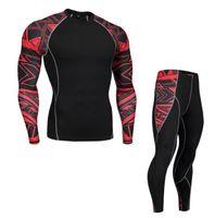 ingrosso rapida essiccazione di biancheria intima-Nuovi pantaloni termici per uomo Set di felpe a compressione Gli uomini termici ad asciugatura rapida si adattano alle tute da uomo