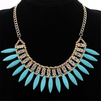 perlas de cristal al por mayor-4 colores Bohemian Maxi Necklace Beads Crystal Spike Rhinestone en forma de collar de gargantilla Retro Lovely Crystal exquisito collar de la borla
