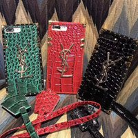 Wholesale Iphone Crocodile Leather Luxury - Luxury brand leather crocodile pattern phone case for iphone X 7 7plus 8 8plus all-inclusive soft side hard cover for iphone 6 6S 6plus