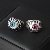 Wholesale eyeball rings resale online - Halloween Evil eye Men s Rings Individuation creative Blue Red Eyeball Rings For women Fashion Punk Jewelry accessories Gift