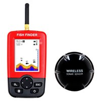 Wholesale Fishing Fishfinder - New Portable Sonar Sensor Wireless Fish Finder Wide White backlight LED LCD Fishfinder Top Fish Detector
