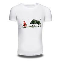 kleines mädchen sommert-shirt großhandel-Camping T-Shirts Neuheiten 2018 Herren Sommer Wolf und kleines Mädchen gedruckt T-Shirt Coole Tops High Quality Casual Kurzarm T-Shirt Männer