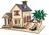 Wholesale Mini Architecture - A seaside villa architecture mini model DIY children's toy 3D Three dimensional wooden jigsaw creative Improve the intelligenc
