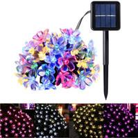 Wholesale purple flower string lights - 50 LEDS 7M Peach Ledertek Flower Solar Lamp Power LED String Fairy Lights Solar Garlands Garden Christmas Decor For Outdoor