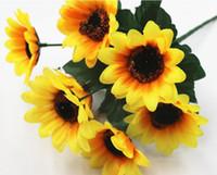 подсолнечник оптовых-Свадебный фон подсолнечника украшения опора моделирования цветок 7 небольшой подсолнечника подсолнечника