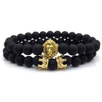 paare armband groihandel-2 teile / satz 2018 neue mode lion crown paar charme mit lava perlenarmband sets für männer armband schmuck zubehör