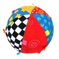 bebek müzik bezi toptan satış-Renkli Bebek çocuk Halka Çan Topu Bebek Bezi Müzik Anlamda Öğrenme Oyuncak Top Eğitici Pamuk El Kavramak Top