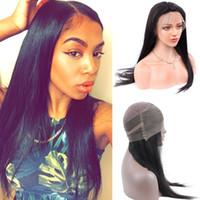 siyah ipek saç toptan satış-Malaysiay İnsan Saç Peruk Siyah Kadınlar için Malezya Ipek Düz Bebek Saç ile 360 Dantel Frontal Peruk Dantel İnsan Saç peruk