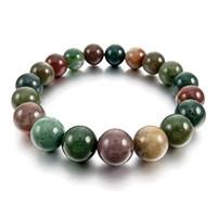 ingrosso braccialetto indiano maschio-12mm Energia Bracciale Energia Bracciale Link Polso Pietra Colore India Agata indiana Buddha Preghiera Mala Ball Perla Perle Elas