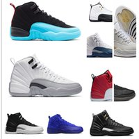 Wholesale Body Game - High Quality 12 Basketball Shoes Men Women 12s OVO White Gym Red Taxi Blue Suede Flu Game Sports Sneakers With Shoes Box