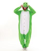 yetişkin dinozor pijama toptan satış-Unisex Yetişkin Cosplay Kostüm Hayvanlar Uyku Onesie Kigurumi Pijama Dinozor
