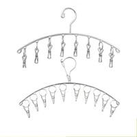 ingrosso appendini per lingerie-Calzini cravatta in acciaio inox a cremagliera Appendiabiti a prova di vento a forma di gancio Appendiabiti salvaspazio di alta qualità 3 4kws B