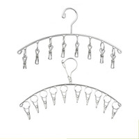Wholesale wind clothing for sale - Stainless Steel Necktie Socks Rack Wind Proof Hook Design Hangers Space Saving Clothes Hanger High Quality kws B