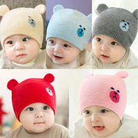 Wholesale crochet newborn bear hats for sale - Group buy Fashion Newborn Ear flap Hats Knitted Warm Bear Round Machine Cap Protects Ear Bonnet Baby Winter Caps