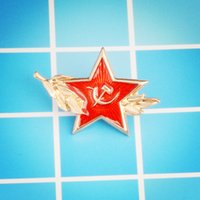 Wholesale union pins - Soviet Union Past national flag Red pentagram Scythe hammer pin Historical souvenirs interested in the Soviet Union brooches