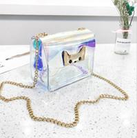цветные заклепки с сумочкой оптовых-Цветная лазерная женская сумка через плечо Candy Color Rivet Chain New Pearl PU Кожаная сумка с клапаном для девочек Модная сумка через плечо