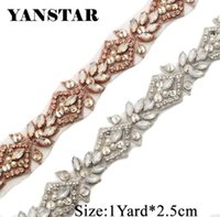 YANSTAR 1 Yard Handmade Opal Rhienstone Applique Rose gold Bridal Belt Trim  Iron On Wedding Dress Belt YS912 81230794b461