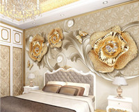 Wholesale vintage gold wallpaper - European 3d exquisite European style gold rose butterfly photo fashion TV wallpaper background wallpaper for walls 3d