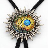 ingrosso legami colorati-BL-009 Nuovi alberi colorati Cowboy Bolo Tie Vintage Tree of Life Cravatta a farfalla Slide Glass Photo Jewelry Accessorio per uomo Donna