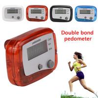 contador de calorías para trotar al por mayor-1 x LCD corriendo Podómetro Distancia para caminar Calorías Pasómetro Contador Equipo deportivo Teclas dobles Jogging Entrenamiento Salud