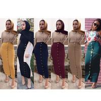 sarı düğmeli elbise toptan satış-Moda Müslüman Kalem Etek Kadın Seksi Uzun Düz Renk Dipleri Paket Etekler Düğmeler Dekore Elastik Ince Siyah Lacivert Sarı Kalça Elbise