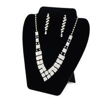 colar elegante preto venda por atacado-Grande Colar Brinco Set Display Card Stand de Veludo Preto Elegante Espaço de Poupança Luz Jóias Exibe para Loja Prateleira Boutique Stall Booth