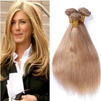 en iyi sarışın uzantılar toptan satış-Toptan Bakire Hint Bal Sarışın İnsan Saç Uzantıları 3 Adet Ipeksi Düz Örgüleri Çift Atkı # 27 Açık Kahverengi Insan Saç Demetleri Fırsatlar