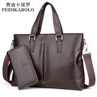 Wholesale Bag Combination - FEIDIKABOLO New 2017 Leather Men Bags Men Crossbody Handbags Large Capacity Business Briefcase Male Shoulder Bag Top Combination