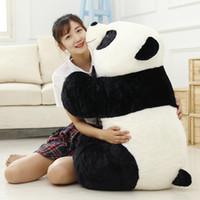 dev doldurulmuş oyuncak pandalar toptan satış-Sevimli Bebek Büyük Dev Panda Ayı Peluş Dolması Hayvan Doll Hayvanlar Oyuncak Yastık Karikatür Kawaii Bebekler Kız Hediyeler Knuffels