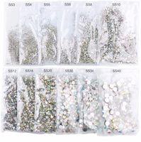 ingrosso glitter di chiodo di dimensione mista-Hot Super Glitter Ss3 -Ss50 Crystal Ab Posteriore piatta Non hotfix Strass 3d Vetro per unghie Nail Art Strass Mix Taglie Decorazioni