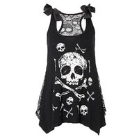 черепа моды tops оптовых-New crop top Women Fashion Skull Print Loose Lace Patchwork Casual Sleeveless summer Tops Hot Girl Vest Cropped Tops hot sale #5