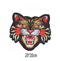 Wholesale large motor - New! Fashion Large Tiger Embroidery Patches for Clothing Iron on Embroidered Sew Badge DIY for motor jacket
