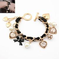 Wholesale one direction gold jewelry for sale - Group buy Gold Color Bracelets for Women Handmade Bracelets Bangles Women Jewelry Heart Leopard One Direction Charm Bracelet