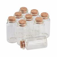 ingrosso vaso vuoto trasparente-Bottiglie di vetro da 25 ml con sughero Piccolo trasparente Trasparente Mini vuoto fiale di vetro Vasi confezione regalo per bottiglie di festa di nozze 50 pezzi