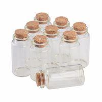 şişe şişeleri mantar toptan satış-Cork Ile 25 ml Cam Şişeler Küçük Şeffaf Temizle Mini Boş Cam Şişeler Kavanozlar Hediye Paketi Düğün Tatil Için şişeler 50 adet