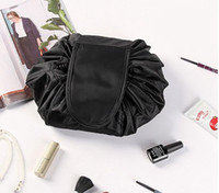 Wholesale Wall Pouch Storage - Women Lazy cosmetic bags black drawstring makeup bag big capacity travel pouch women sundries storage bags fasion 2pcs DHT395-2