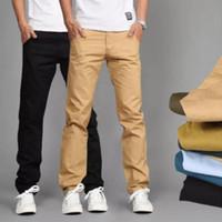 армейские брюки тонкие оптовых-Мужские прямые брюки для одежды Новые модные брюки для мужчин Chinos Men Slim Fitness Summer Haraki Grey Free Shipping