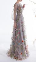 neue trendige prom kleider großhandel-2018 Neue Frauen Long Sleeves Prom Kleider Trendy Blumenstickerei A-line Abendkleider Formale Party Kleider Pageant Kleid Vestios De Novia