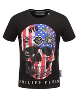 Wholesale Skull Heads Beads - In the summer of 2018, the new young men's fashion short-sleeved skull-head pure cotton American flag printed ironing the t-shirts of Europe