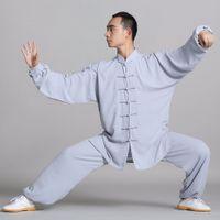 Wholesale tai chi clothes cotton - Unisex cotton+silk Wushu Traditional Chinese Clothing KungFu Uniform Suit Uniforms Tai Chi Morning Exercise Performance Wear