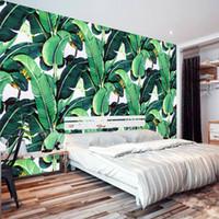 fondos de pantalla europeos al por mayor-Al por mayor-Estilo Europeo Retro Tropical Planta de la Selva Tropical Banana Leaf Foto Wallpaper Pastoral Mural Fondo Mural de la pared Dormitorio Fresco