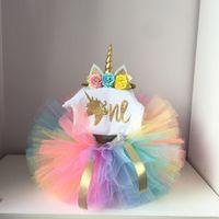 1. kinder großhandel-Neugeborenes Baby Mädchen Kleidung Sets My Little Girl 1. Geburtstag Outfits Baby Strampler + Rock + Stirnband Infant Party Kostüm Kinder Kleidung